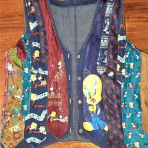 Waistcoat made out of tiesd with cartoon characters on