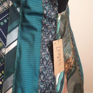 Close-up showing Detail of Leaves Waistcoat made from upcycled Men's Ties