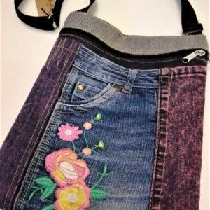 denim sling bag with flower motif