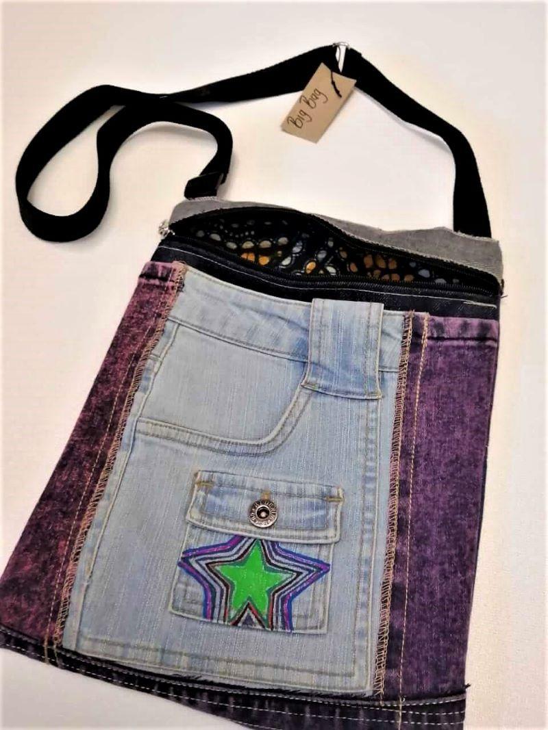 Denim sling bag with star motif
