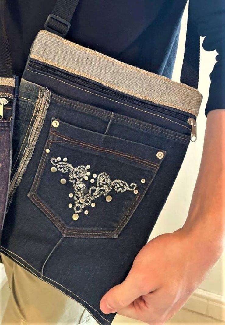 Comfortable, durable denim sling bag