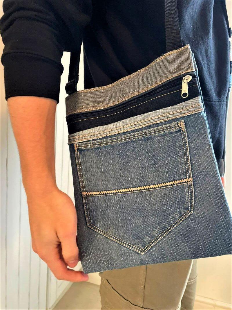 Trendy big denim sling bag