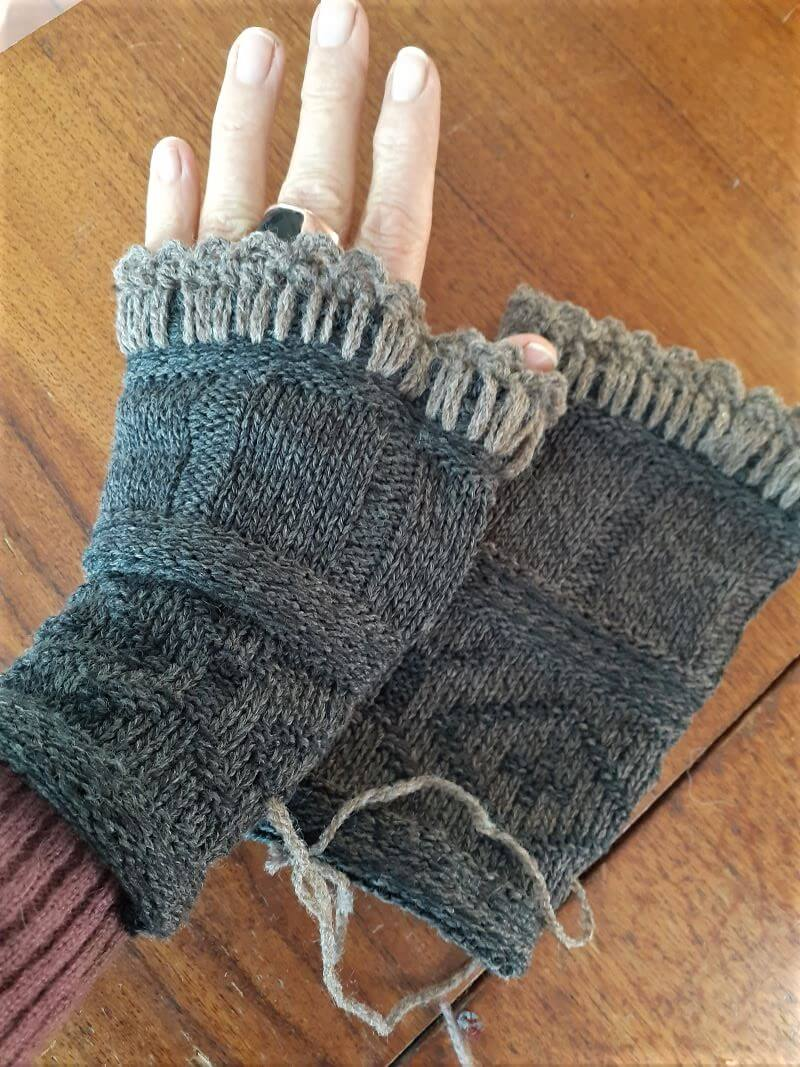 Lovely warm grey mittens upcycled from a jersey