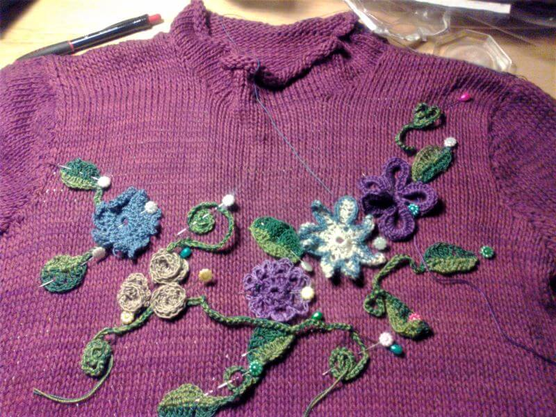 Lilac Jersey applique-ing in process