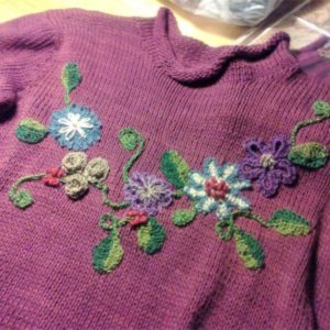 Lilac Jersey upcycled with applique flowers in complementary colours