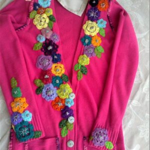 Pink Jersey upcycled with bright applique flowers