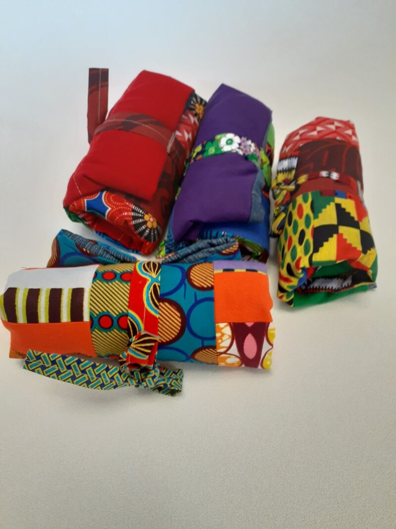 Beautiful colourful upcycled material shopping bags