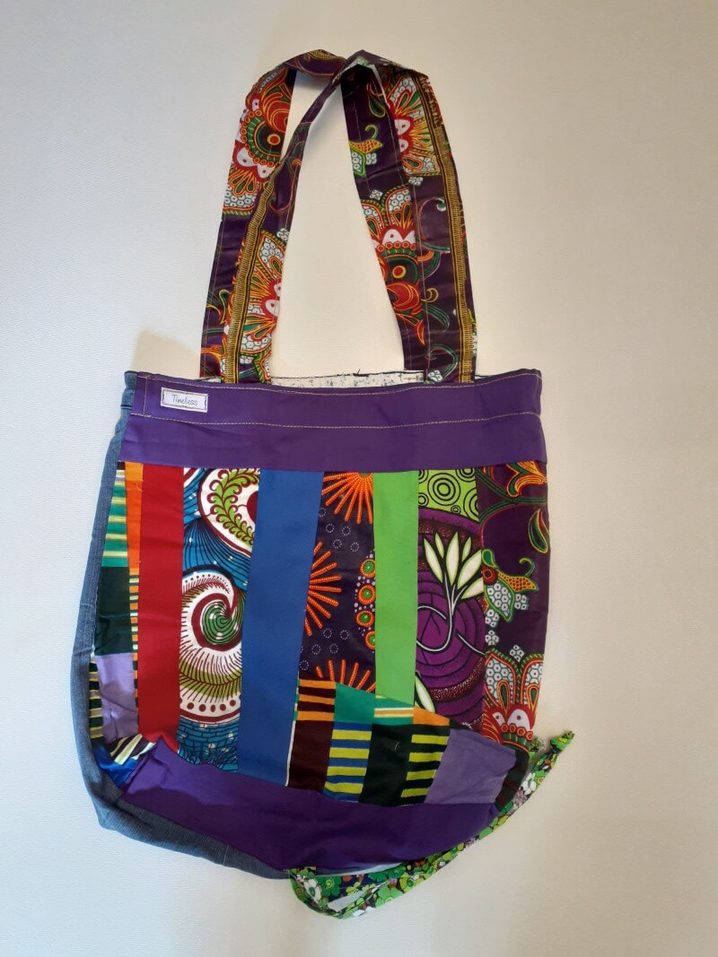 Funky bright colourful big upcycled material shopping bag