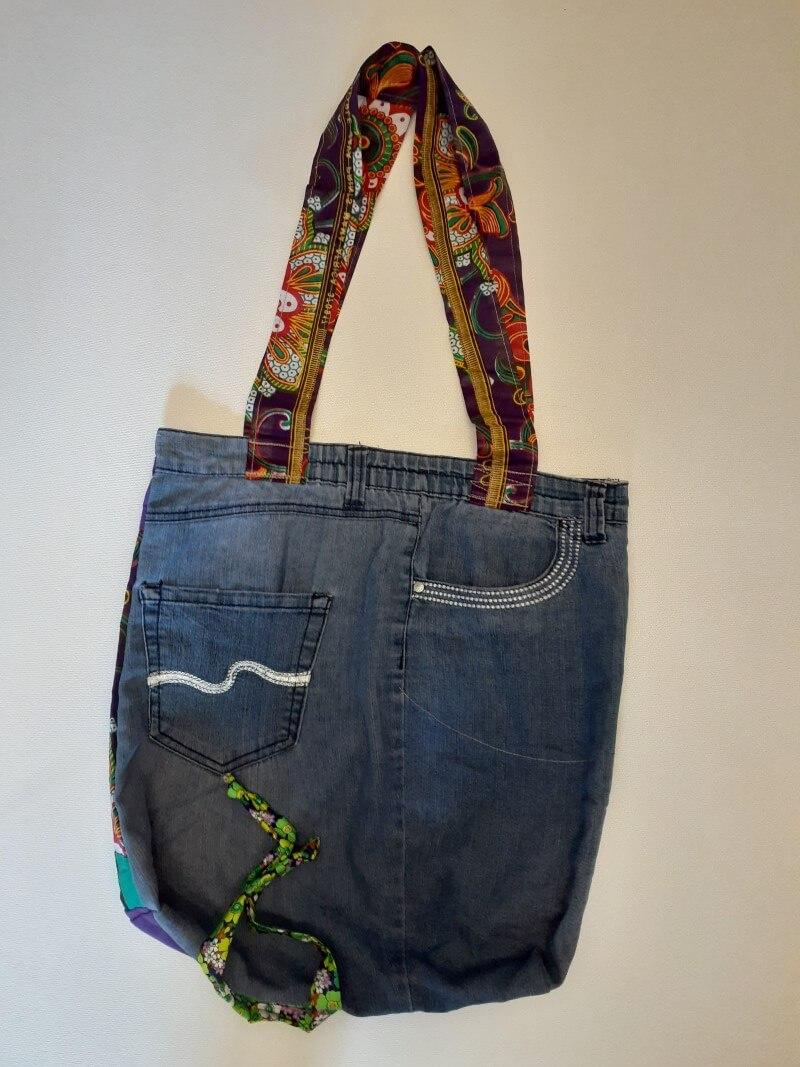 Lovely large upcycled denim shopping bag with pockets