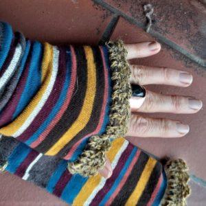 colourful fingerless gloves made from socks